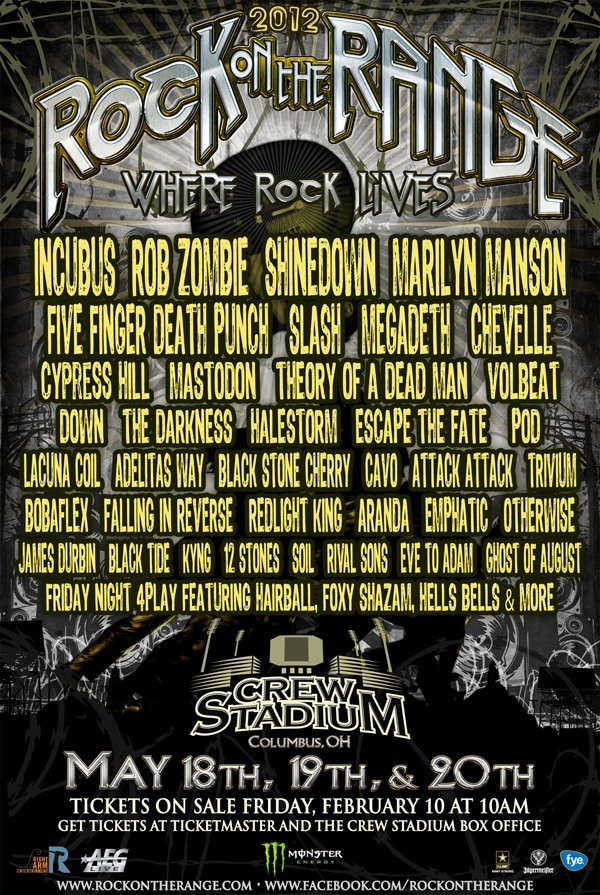 2012 rock on the range lineup has been announced. Black Bedroom Furniture Sets. Home Design Ideas
